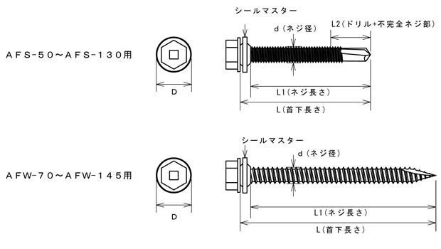 ドリルハンガー W1/2-12ナット固定タイプ用下穴処理ビス 寸法図
