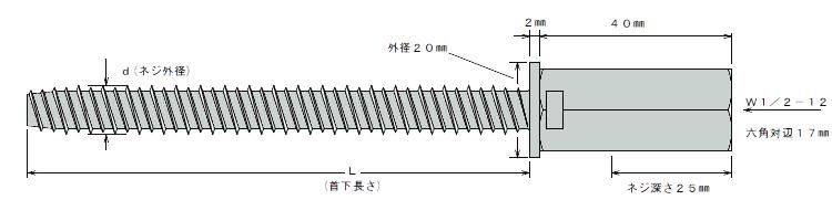 アシバツナギ プレコンタイプ New AFC 10.5×135 寸法図