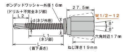 アシバツナギ AWS-51 粗目ネジ 寸法図