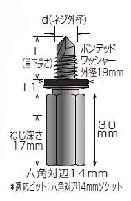 高ナット付きハンガー NFS-W3/8×18 サイズ表