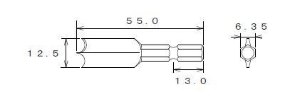 石膏ボード用ドリルビット寸法図
