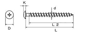 Pレスアンカー ALC(気泡コンクリート)および新建材用セルフタッピング サイズ表