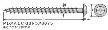 GS PレスアンカーALC トラス頭 ステンめっき サイズ表