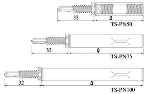 タテドイツナギ (W3/8-16)ボルト接続金具 TS-PN100 寸法図