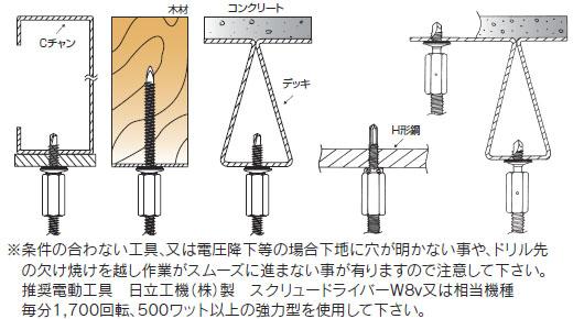 ドリルハンガー W3/8-16ナット固定タイプ 施工例